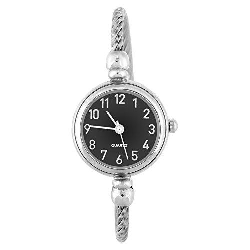 Relojes de Cuarzo para mujer, pulsera analógica redonda de aleación, pulsera abierta Reloj de pulsera(#03)