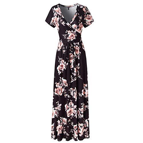 Lover-Beauty Damen Kleider Boho Sommerkleid V-Ausschnitt Maxikleid Kurzarm Strandkleid Lang mit Gurtel schwarz s