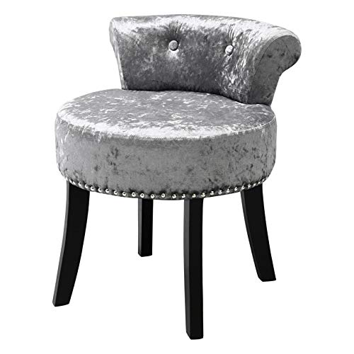 Qivange Dressing Table Stool-Ice Velvet Bedroom Dressing Table Chair Small Guest Bedroom High Elastic Sponge Chair, For Guest Room Hall (Sliver Grey)