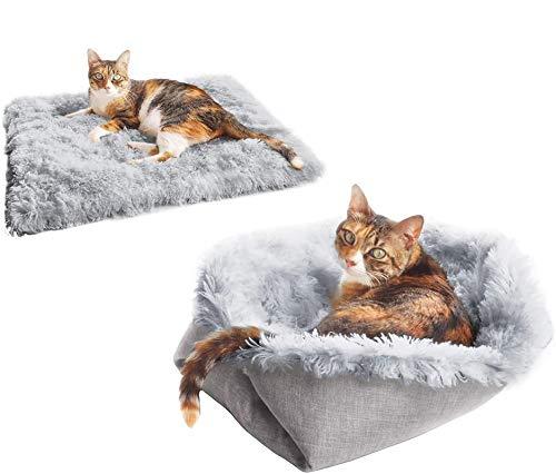 LEILIANG Haustierbett für Katzen kleine Hunde, Funktion 2 in 1 Plüsch Weiche Decke und Donut-Bett für Indoor Katzen Warm Flauschige Haustierbett Matte für Kätzchen Welpen Hund (Grau)