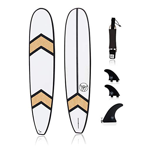 """South Bay Board Co. Pro Series Surfboard (Panda Log) – 9"""" Longboard with 2+1 FCSII Fin Box System (Side Fins + Center Fin), Fin Key, and 9' Leash – High-Performance Surfboards"""