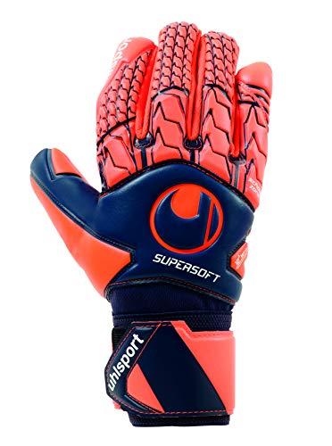 uhlsport Torwarthandschuhe Next Level-Supersoft-In den Größen 6-11 Innenhand Keeper-Handschuhe entwickelt mit Profis-Optimaler Halt und Grip, langlebig-Marine/Fluo rot, 7