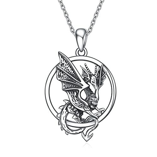 Collar de dragón de plata de ley 925 con colgante de pterosaurio, regalo para mujeres y hombres, Plata esterlina,