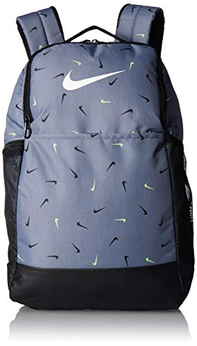 NIKE Brasilia Medium Backpack 9.0 All Over Print, Cool Grey/Black/White, Misc