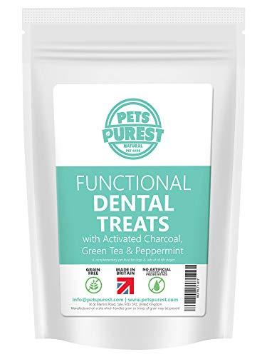 Korn Gratis Hund Dental-Leckereien - 100% natürlicher Plaque Off Tartar Freshen Atem - Aktivkohle, Grüner Tee & Peppermint - hypoallergen Leckereien für Hunde und Katzen mit empfindlichem Magen