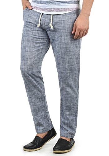 Blend Bonavo Herren Leinenhose Sommerhose Lange Stoffhose In Leinen-Optik Aus 100% Baumwolle Regular Fit, Größe:S, Farbe:Navy (70230)