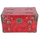 Caja del tesoro de madera, caja de almacenamiento roja retro, cofre del tesoro, maleta decorativa, baúl, tienda, exhibición, accesorios de fotografía