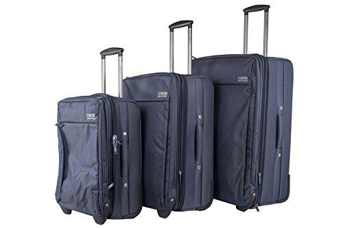 Set valigie trolley 3 pezzi semirigido YY COVERI blu cabina da viaggio S44