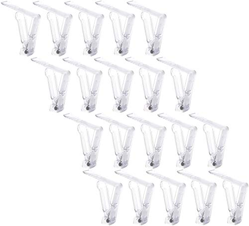 NYKKOLA Set of 20 Endurance Plastic Transparent Tablecover Table Cloth Clip Clamp for Home Party & Picnic