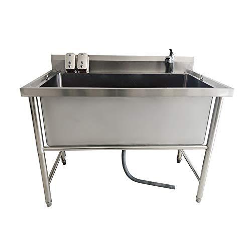 Bañera para Mascotas Productos para Mascotas Grandes Bañera Antideslizante para Perros Y Gatos Que No Se Dobla con Patas Altas De Acero Inoxidable Instalación Fácil