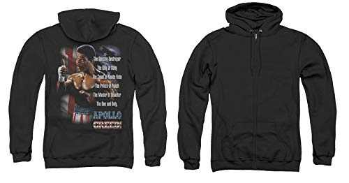 Rocky II Full Zip One and Only Apollo Creed Black Hoody Back, SM