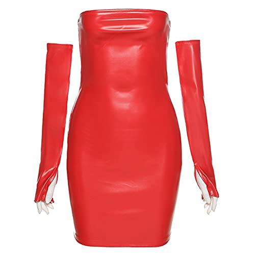 XLBHSH De Las Mujeres Sexy Cuero PU Envoltura Pecho Paquete Cadera Escotado por Detrás Apretado Vestidos Club Nocturno Bar DS Ultra Falda Corta Traje De Escenario,Rojo,S