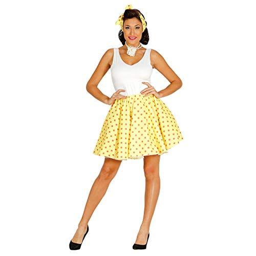 Elegante Set de Disfraz Pin Up Chica para Dama / Amarillo-Naranja L (ES 44/46) / Falda Estilo Rock