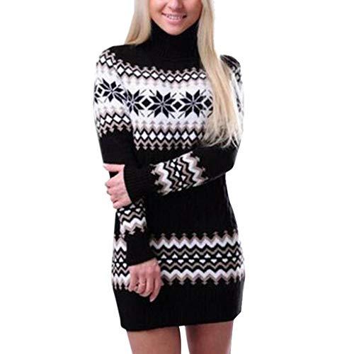 DNOQN Damen Kleider Blusenkleid Shirtkleid Frauen Weihnachts Schneeflocke Gedruckt Langarm Rollkragenpullover KleidSweatkleid Winterkleid Latzkleid Mädchenkleider