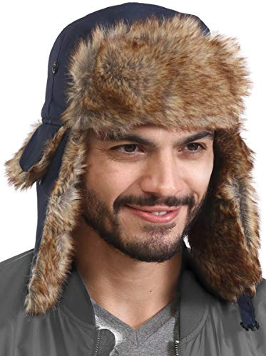 Trapper Hat - Winter Trooper Aviator Earflap Eskimo Hat - Fits Men & Women (Navy Blue)
