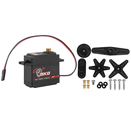 Drfeify Servo Digital de Engranaje metálico 15KG S1500M para RC 1/8 1/10 Smart Wing con Motor de ala Fija para Aviones, Coches y Robots Inteligentes