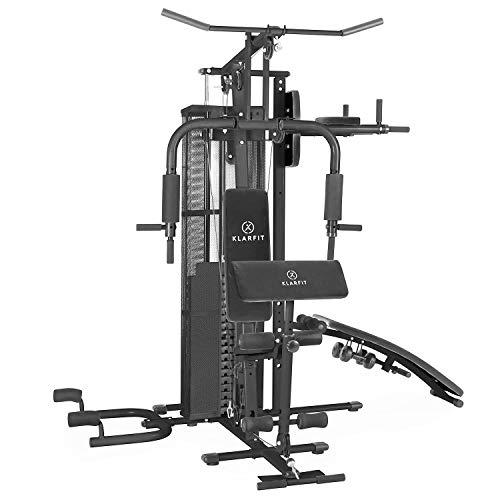 Klarfit Ultimate Gym 5000 - Palestra in casa, Power Station, Training Station, Sistema di Peso Multifunzione, per più di 50 Esercizi, Allenamento per Tutto Il Corpo, incl. Pesi, Bianco o Nero