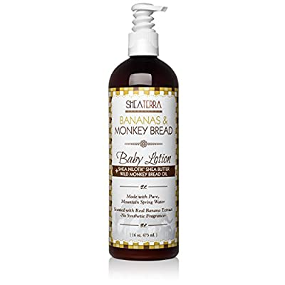 Shea Terra Organics Mama and Baby Collection   Bananas & Monkey Bread Baby Lotion   Non Toxic All Natural Emollient with Baobab and Shea Butter for Dry Skin – 16oz