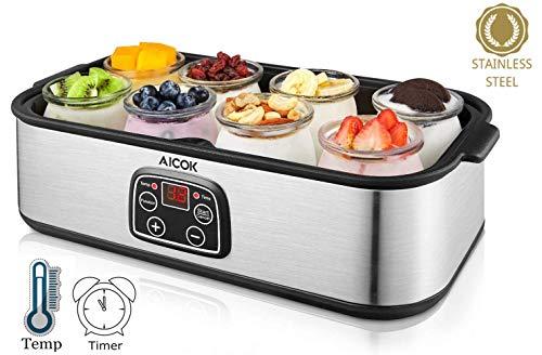 Elektrischer Joghurt-Maker, Aicok Joghurt-Maker aus Edelstahl mit 8 Gläsern, 1440ml, selbstgemachter frischer Joghurt-Maker mit automatischer Abschaltung, einstellbare Temperatur, LED-Display