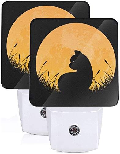 2Pc Halloween Full Moon Cat Led Night Light con Auto Dusk to Dawn Sensor Luz nocturna Enchufe en la lámpara de cama LED para niños, niñas, bebés, niños, adultos, habitación