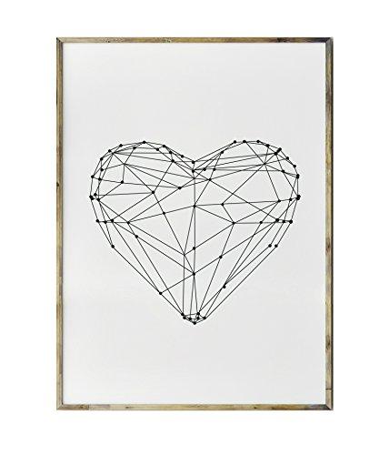 SoulSisters Living Hochwertiger Leinwanddruck mit geo Herz Form Motiv A4 - Kunstdruck Fine Art Geschenk Moderne Poster Print Leinwandbild Wandbild Heart Leinwand Plakat Deko Bild DINA4