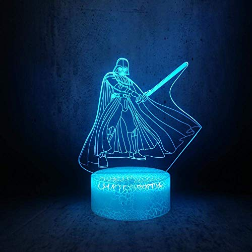 Lámpara de ilusión 3D Luz de noche LED Star Wars Negro K Película Papel de dibujos animados Habitación de los niños Lámpara de mesa Los mejores regalos de vacaciones de cumpleaños para niños