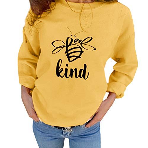 ➤Refill➤ Blusen & Tuniken für Damen, Damen Sweatshirts Biene Brief Drucken kurz warm weich Herbst Langarmshirts Strand T-Shirt Bluse Mode Tops