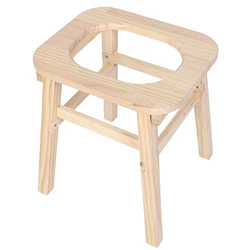 NITRIP Abnehmbarer rechteckiger Toilettenstuhl aus Holz, bequemer Stuhl, tragbar für das Badezimmer zu Hause