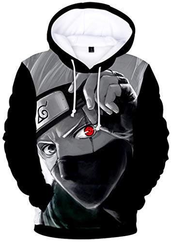 Silver Basic Naruto Sudadera con Capucha para Hombre con Estampado 3D Sudadera Uniforme Anime japons Naruto Kakashi Disfraz Ropa L, Kakashi-1