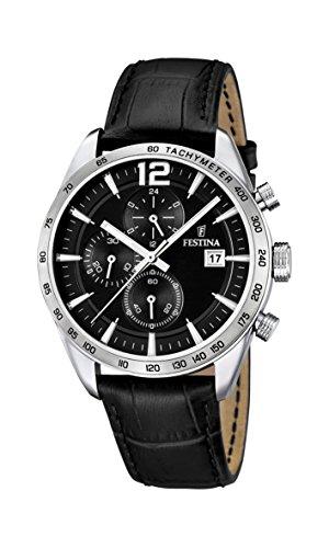 Festina Herren Chronograph Quarz Uhr mit Leder Armband F16760/4