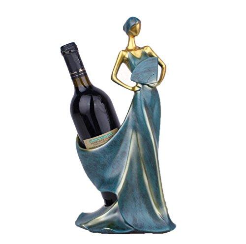 SUNBOR Botellero De Vino Resina Belle sosteniendo un ventilador Artesanía Comedor Bar Decoraciones Interiores