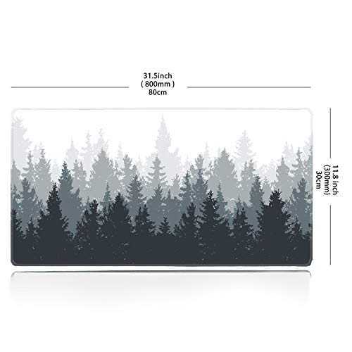 Galdas Gaming Mouse Pad Forest Background Pattern XXL XL Large Mouse Pad Mat Long Extended Mousepad Desk Pad Non-Slip Rubber Mice Pads Stitched Edges Thin Pad (31.5x11.8x0.08 Inch)-Tree Photo #2