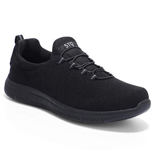 HKR Damen Sneaker Memory Foam Leichte Slip on Turnschuhe Sportschuhe Bequeme Walkingschuhe Schwarz 39 EU