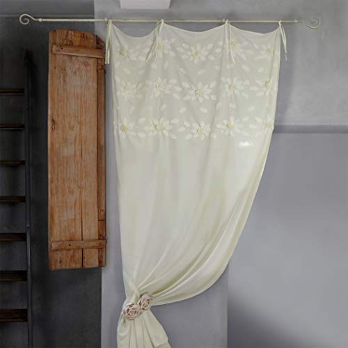 Tenda Shabby Chic con Rose Applicate a Mano Colore Avorio 140x290