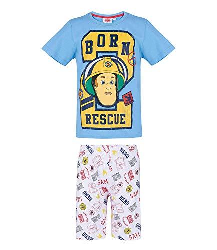 Fireman Sam Boys Short Sleeve Pyjama Born 2 Rescue - 2-3 Years - Blue