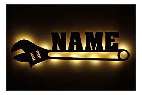 Schlummerlicht24 3d Led Nachtlicht Schraubenschlüssel mit Name, lustige Männer Geschenke für Handwerker Heimwerker Auto Werkstatt Heizung Gas Wasser Installateur personalisiert Deko Lampe