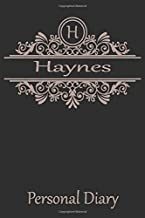 H Haynes Personal Diary: Cute Initial Monogram Letter Blank Lined Paper Personalized Notebook For Writing & Note Taking Composition Journal