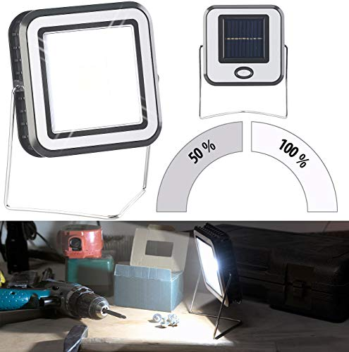 Lunartec Campinglampe: Solar-COB-LED-Arbeitsleuchte im Baustrahler-Design, 3 Watt, 150 lm (LED Camping-Lampen Solar)