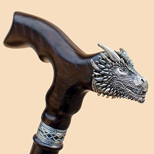 Unique Wooden Walking Cane for Men - Dragon - Fancy Men's Wood Canes Fashionable Walking Stick