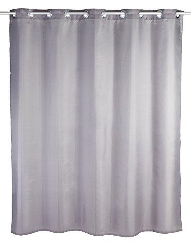 WENKO Duschvorhang Comfort Flex Grau - Textil , waschbar, wasserabweisend, mit 12 Duschvorhangringen & integrierter Hängeeinrichtung, Polyester, 180 x 200 cm, Grau