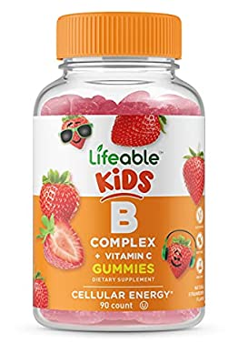 Lifeable Vitamin B Complex with Vitamin C for Kids – Great Tasting Natural Flavor Gummy Supplement – with Niacin, B6, Folic Acid, B12, Biotin & Pantothenic Acid – Energy and Nerve Support, 90 Gummies