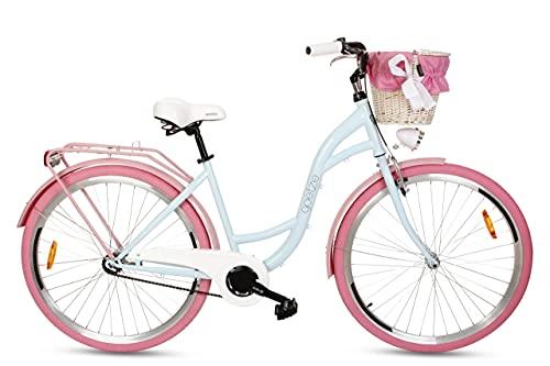 Goetze Style Damenfahrrad Retro Vintage Holland Citybike, 28 Zoll Alu Räder, 1 Gang, Rücktrittbremse, Tiefeinstieger, Korb mit Polsterung Gratis!