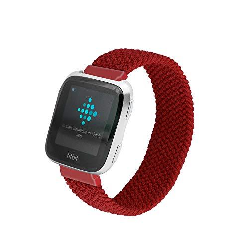 MAXSELL Bandas elásticas de nailon compatibles con Fitbit Versa/Versa2/Versa Lite/Versa SE, correa de repuesto transpirable para mujeres y hombres (rojo, L)