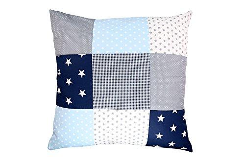 ULLENBOOM ® Patchwork Kissenbezug Blau Hellblau Grau (60x60 cm Kissenhülle, 100% Baumwolle, ideal als Dekokissen, Kinderzimmer Zierkissen, Motiv: Sterne)