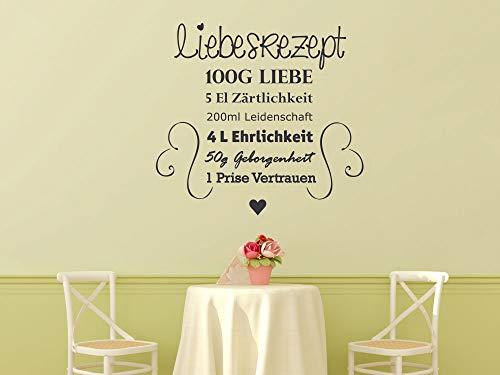 GRAZDesign Wandtattoo Liebesrezept Küche, Schlafzimmer, Esszimmer Sprüche Deko / 62x57cm / 042 Flieder