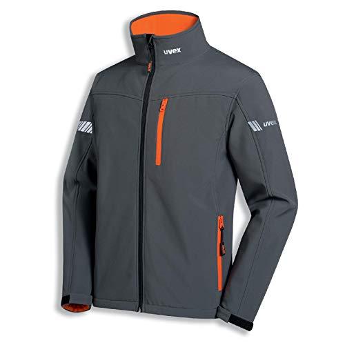 Uvex Metal Herren-Arbeitsjacke - Dunkelgrau-Orange Männer-Softshelljacke - Atmungsaktiv - Wind- & Wasserdicht L