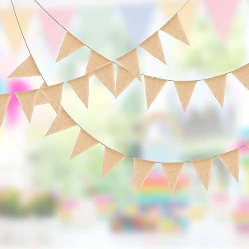 KATOOM 12M Cadena de Banderines para Exteriores 50PCS Banderines de Yute Banderines de Boda Vintage Banderas de Guirnalda Decoración de Inscripción de Lino para Decoración de Fiesta de Cumpleaños