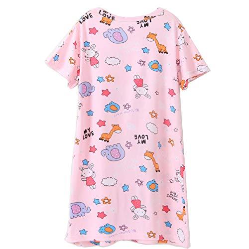 Nest Home Nachthemden für Mädchen Kleinkind Baumwolle Karikatur Kurze Ärmel Nachtwäsche for 3-12T (Zoo, 11-12 Jahre)