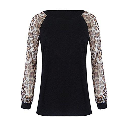 Damen Tops Langarm Longshirt, ITISME Tops 2019 Herbst Winter Baumwolle Vintage Casual Damen Leopard Bluse Langarm Fashion Damen T-Shirt Übergrößen Tops Sports Joggen Pullover Schwarz Rot S-5XL