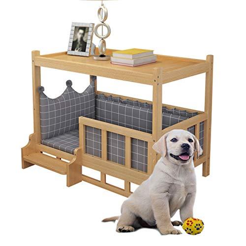 JLXJ Cama para Perros Cama de Madera para Perros con Gris/Azul Colchón Lavable, Elevado de Madera Deluxe de Gran Tamaño Doble Capa Sofá Cuna para Perros, Diseño de Valla de Escaleras